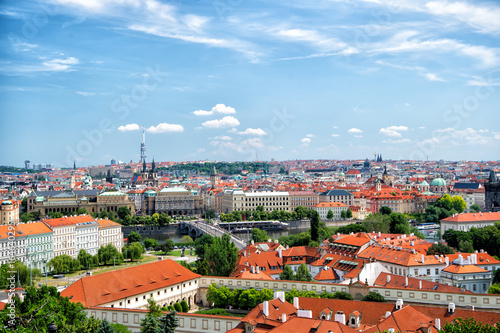 panorama of Prague with blue sky