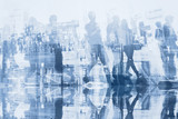 business people double exposure with reflection, abstract silhouettes of crowd, concept background - 164645026