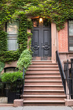 Ivy covered exterior door on New York City brownstone apartment Building  - 164645480