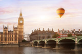 hot air balloon in London, beautiful view of Big Ben tower, river  and bridge