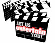 Постер, плакат: Let Us Entertain You Movie Clapper Boards 3d Illustration