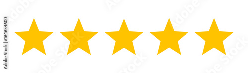 Five stars customer product rating review flat icon for apps and websites - 164654600