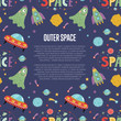Outer space cartoon web banner. Funny jelly alien, flying saucer, rocket, stars, planets, comets, moon, letters collage text vector illustrations on blue background. - 164661663