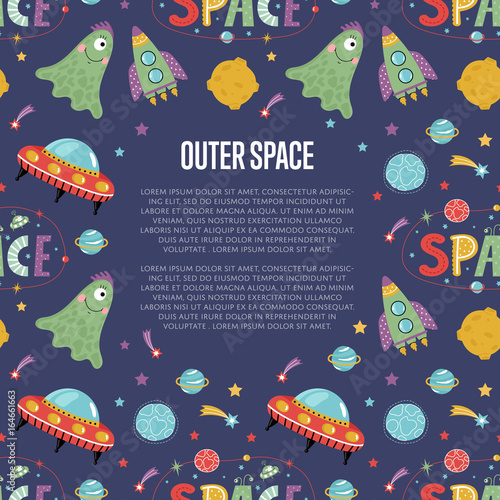 Outer space cartoon web banner. Funny jelly alien, flying saucer, rocket, stars, planets, comets, moon, letters collage text vector illustrations on blue background.