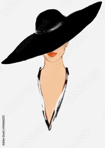 Fotobehang Anna I. Elegant lady. Fashion illustration