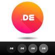 Domain DE sign buttons. 5 Icons Vector top-level internet domain symbols.