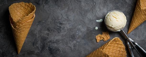 Vanilla ice cream on rustic background © anaumenko