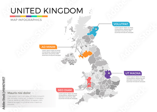 United Kingdom map infographics vector template with regions and ...