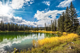 Sunny autumn day in Jasper National Park