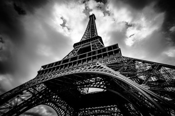 Trhreatening sky over the Eiffel Tower
