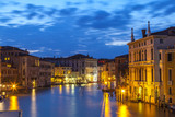 Palazzos on the Grand Canal, Venice, Veneto,  Italy at night during blue hour with lights reflected on the water of the canal