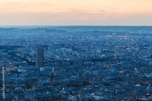 Paris, France. View from Eiffel Tower to the night city
