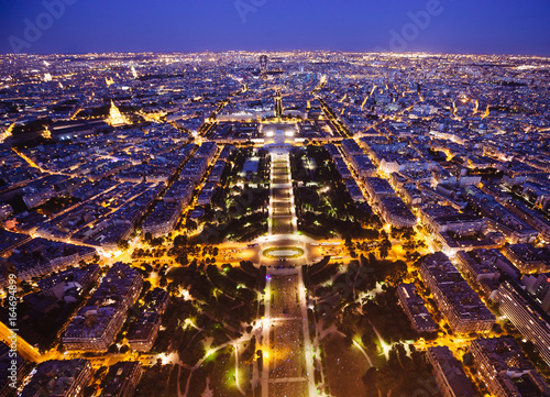 Paris, France. View from Eiffel Tower to the night city Poster