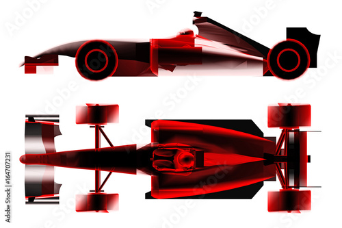 Fotobehang F1 race car formula x-ray isolated on white