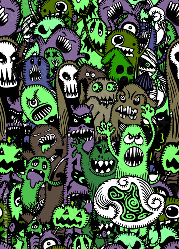 Vector set of scary,Funny colorful characters with different emotions.seamless background doodle.Vector illustration