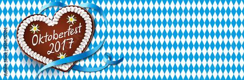 Oktoberfest 2017 - Lebkuchen mit Schriftzug, Schleifenband und Rauten Hintergrund