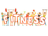 Group of smiling people in sport uniform holding the word Fitness cartoon colorful vector Illustration - 164718477