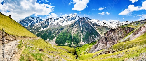 A beautiful mountain landscape. Panoramic view of the mountains of the North-Caucasian ridge.