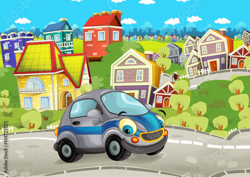 Cartoon every day car smiling and driving through the city - illustration for children - 164725025