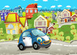 Cartoon every day car smiling and driving through the city - illustration for children