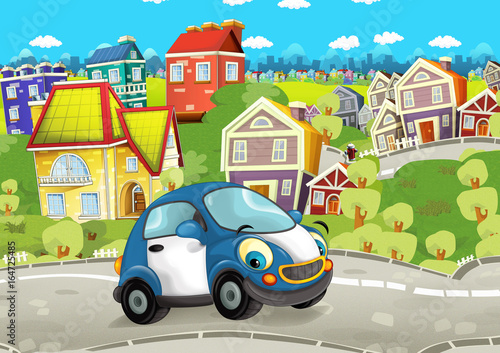 Cartoon every day car smiling and driving through the city - illustration for children - 164725485