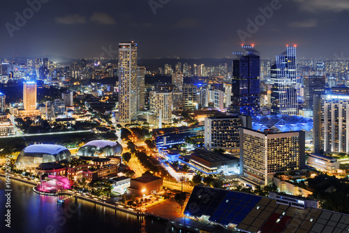 Night view of downtown in Singapore. Beautiful cityscape
