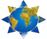 World map in sun shape