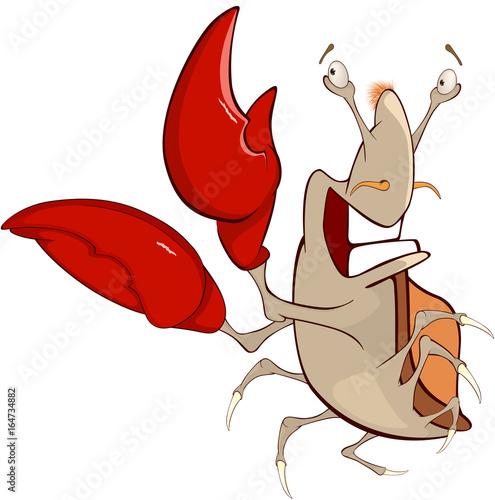 Illustration of a Cute Crab. Cartoon Character