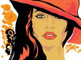 Pop Art kobieta w kolorowym kapeluszu