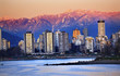Vancouver Skyline Harbor English Bay Snow Mountains Sunset British Columbia