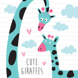 cute giraffes with clouds vector illustration