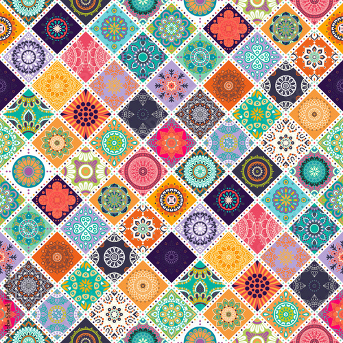 Seamless repeating pattern consisting of different mandalas