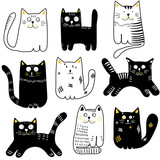 Collection of hand drawn cats. Black and white funny cats. Vector illustration.
