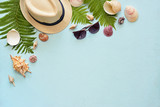 Flat lay. Top view. Frame of shells of various kinds on a blue background. Seashells on a pastel background. - 164761492