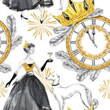 Watercolor seamless pattern in retro gold style. Beautiful woman with champagne, Greyhound dogs, jewellery clock, diadem, fir branches. Vintage New Year illustration. For holidays design. - 164766825