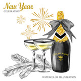 Watercolor retro illustration. Golden luxury style. Hand painted bottle of Champagne, wineglasses, fir branches and firework. Christmas, New Year symbol. - 164766832