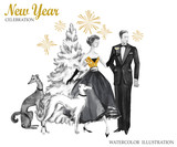 Watercolor retro illustration. Golden luxury style. Hand painted man and women with champagne, dogs, Christmas tree and firework. New Year symbol. Good for anniversary and holidays design. - 164766862