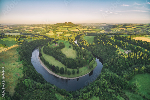Aerial photo of Scott's View looking to the Eildon Hills in the Scottish Borders with the River Tweed at the foreground. Scotland UK, Europe