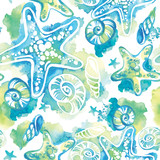 Watercolor background with seashells. Abstract seamless pattern marine design. - 164769824
