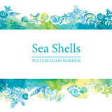 Marine border with watercolor sea shells. Sea life frame. Summer travel background. - 164769892