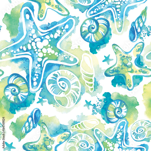 Cotton fabric Watercolor background with seashells. Abstract seamless pattern marine design.