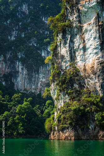Close-up Magical land with limestone mountain over water