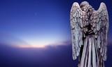 Angel sculpture over dark sky panoramic view - 164788898