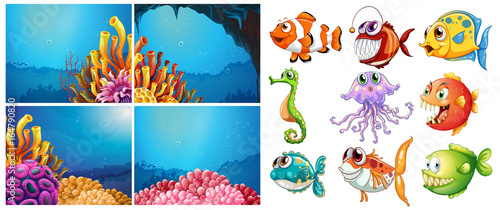 Foto op Canvas Kids Sea animals and four scenes underwater