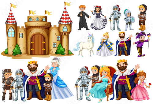 Fotobehang Kids Fairytale characters and castle building