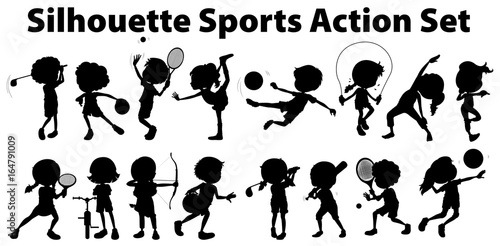 Staande foto Kids Silhouette sports action set on white background