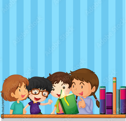 Foto op Canvas Kids Children reading book and blue background