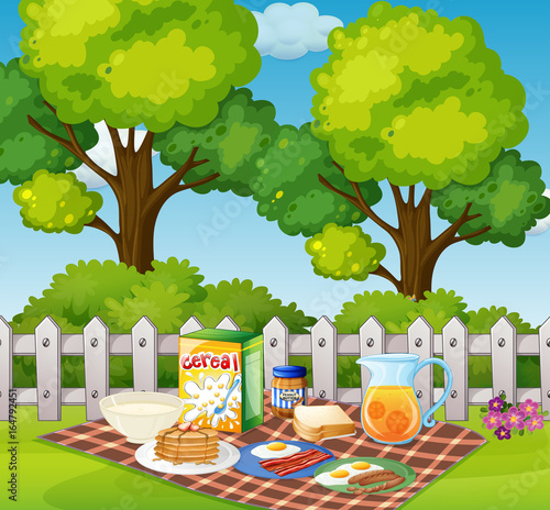 Picnic in garden in the morning
