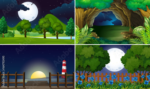 Foto op Canvas Kids Four scenes at night time