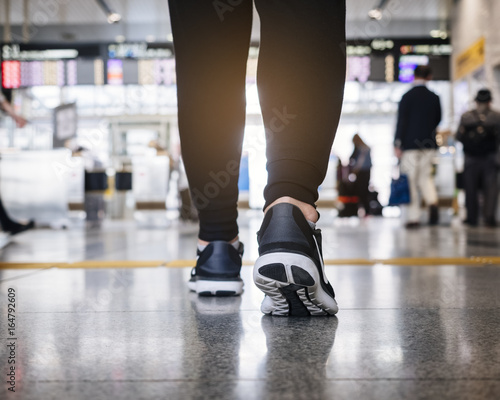 People walk in train station with people Travel concept